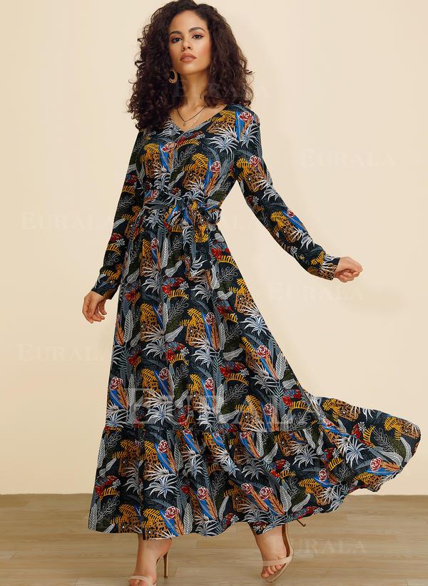 Imprimeu Mâneci Lungi Tip A-line Maxi Casual Elbiseler