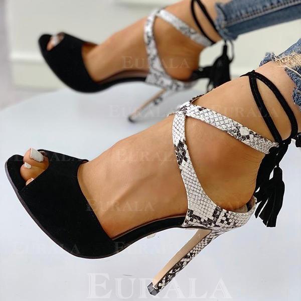 Bayanlar PU Topuklu ayakkabı Sandalet Pompalar Peep Toe Ile Bağcıklı ayakkabı ayakkabı