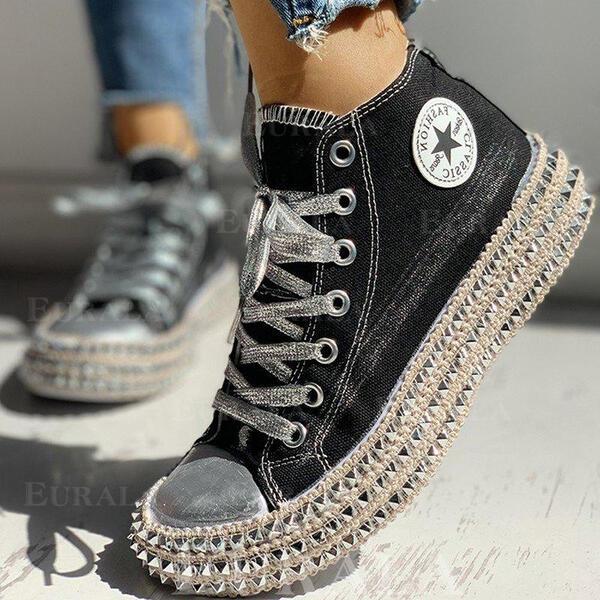 Női Vászon Alkalmi Szabadtéri -Val Szegecs Lace-up cipő
