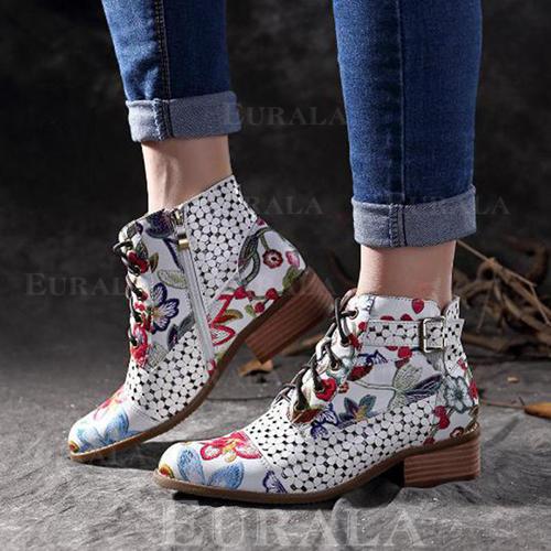 [US$ 24.99] Frauen PU Flascher Absatz Flache Schuhe Geschlossene Zehe Stiefel Stiefel Wadenlang mit Schnalle Reißverschluss Zuschnüren Schuhe Eurala