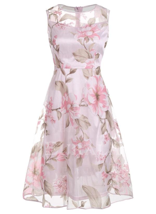 Estampado/Floral Sem mangas Evasê Comprimento do joelho Vintage/Casual/Festa/Elegante Vestidos