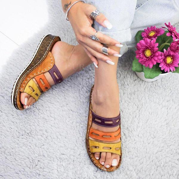 Bayanlar PU Sivri topuk Sandalet Takozlar Peep Toe Ile Oymak ayakkabı