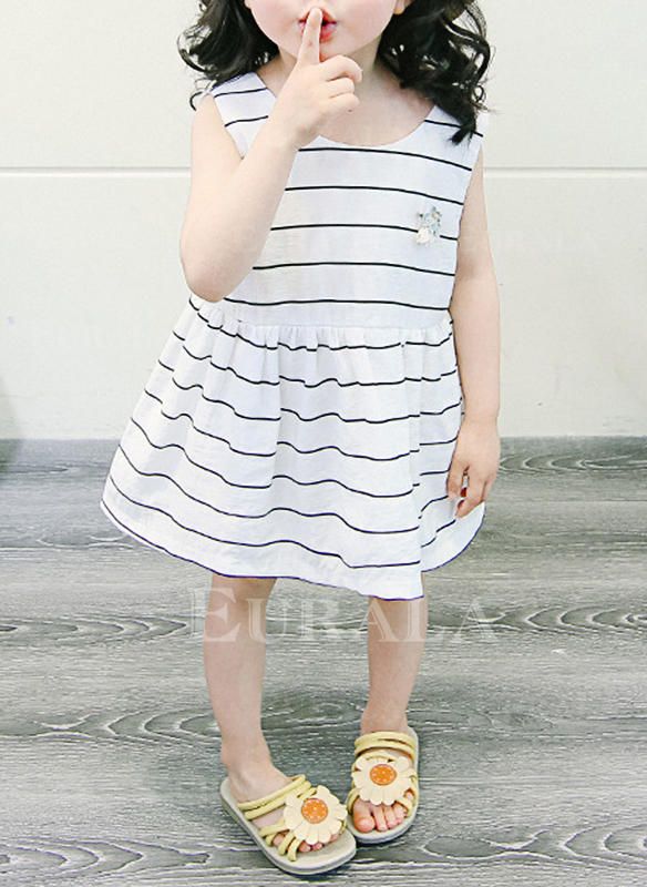 Meninas Neck redonda Listra Casual Bonito Vestido