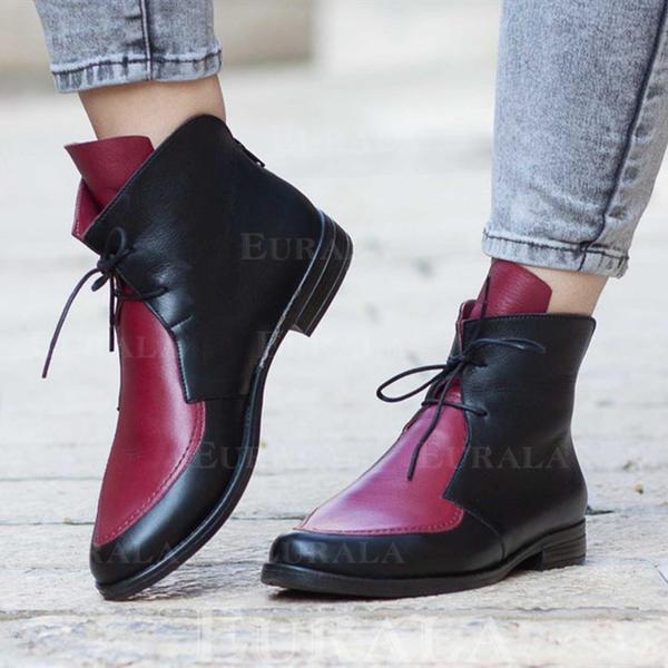 Frauen PU Stämmiger Absatz Stiefelette Martin Stiefel mit Zuschnüren Schuhe