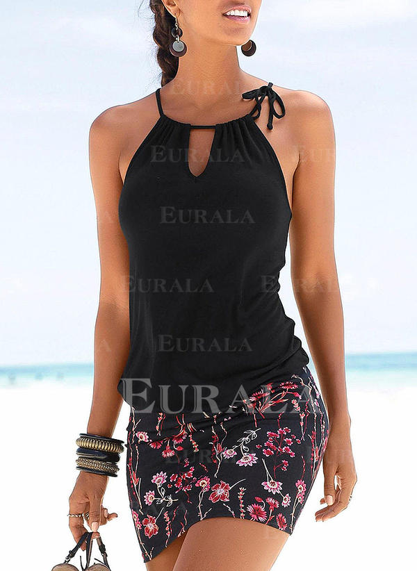 Floral Sleeveless Bodycon Above Knee Vacation Dresses