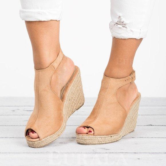 Női Szarvasbőr Ékelt sarkú Magassarkú Peep Toe -Val Csat cipő