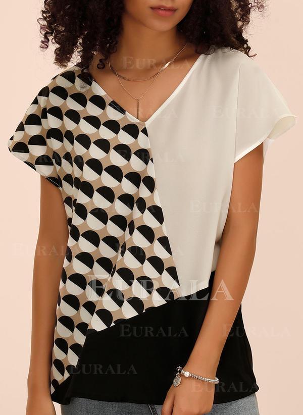 Print Geometrisch Lapwerk V-hals Korte Mouwen Casual T-shirts