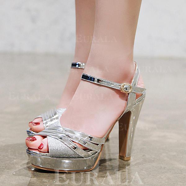 Bayanlar suni deri Tıknaz Topuk Sandalet Pompalar platform Ile Toka ayakkabı