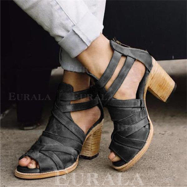 Bayanlar PU Tıknaz Topuk Sandalet Pompalar Peep Toe Ile Toka ayakkabı
