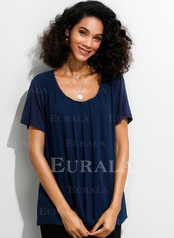Solid Guler Rotund Mâneci Scurte Comodă Cămaşă Tip Bluză