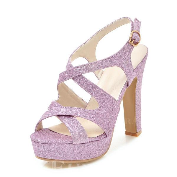 Mulheres Espumante Glitter Salto robusto Sandálias Bombas Plataforma Peep toe Sapatos abertos com Fivela sapatos