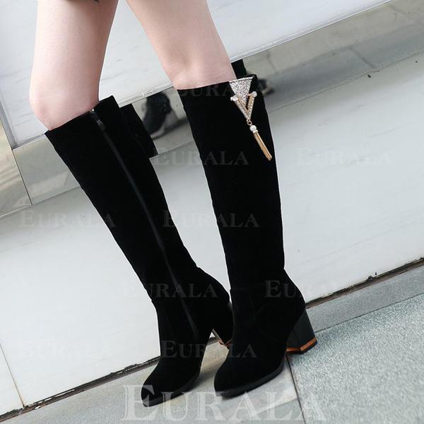 Frauen Kunstleder Stämmiger Absatz Kniehocher Stiefel mit Reißverschluss Schuhe