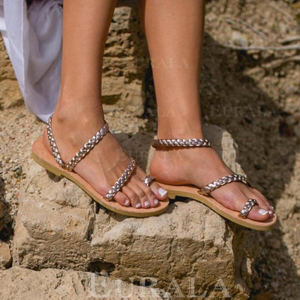 Bayanlar PU Düz topuk Sandalet Flats Peep Toe Ile Diğerleri ayakkabı