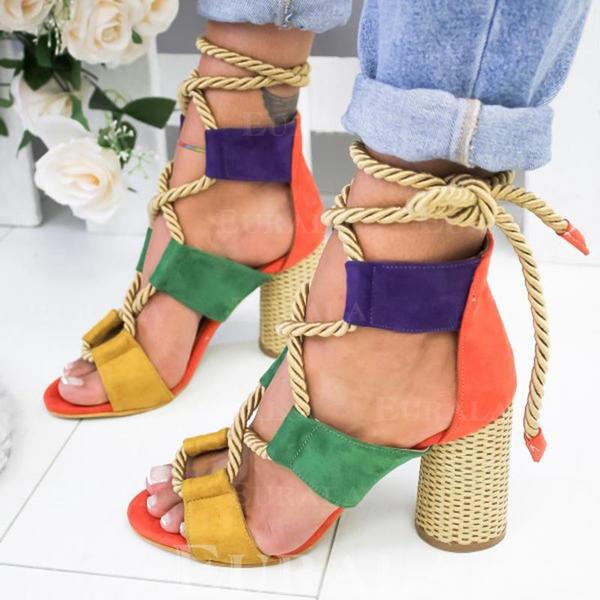 Vrouwen PU Chunky Heel Sandalen Pumps Peep Toe met Vastrijgen schoenen