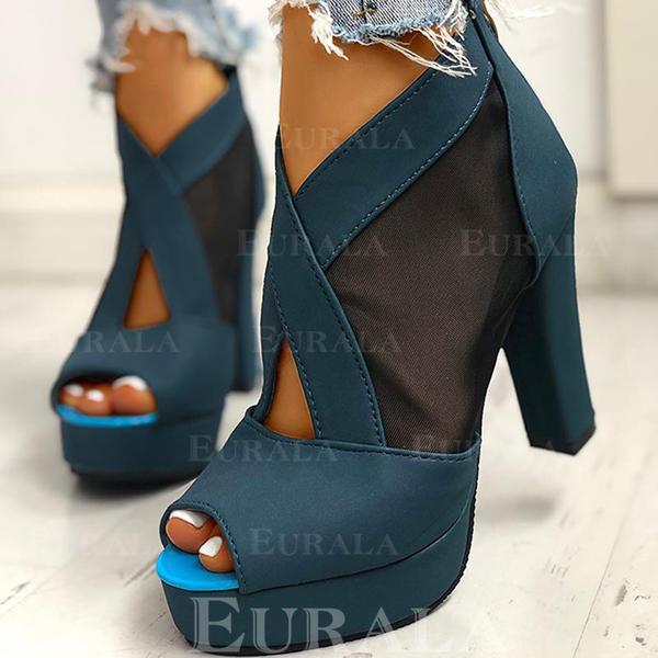Női PU Chunky sarok Peep Toe -Val Cipzár cipő
