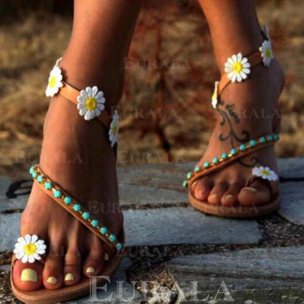 Низька підошва Сандалі Низька підошва взуття на короткій шпильці з Квітка взуття
