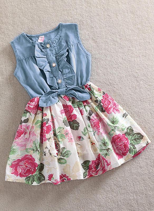 Meninas Neck redonda Floral Impressão Pregueado Casual Bonito Vestido