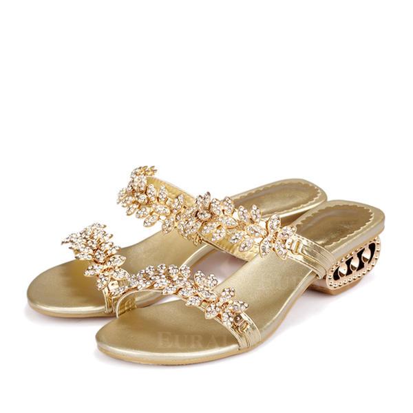 Mulheres Couro verdadeiro Salto baixo Sandálias Mary Jane Sapatos de Casamento na Praia com Strass