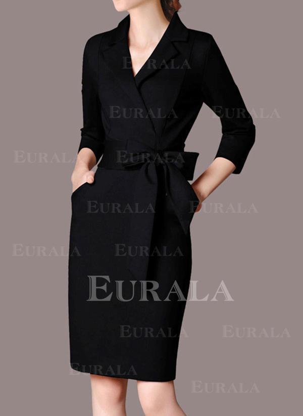 Sólido Manga Comprida Bainha Comprimento do joelho Vestido Preto/Casual/Elegante Vestidos
