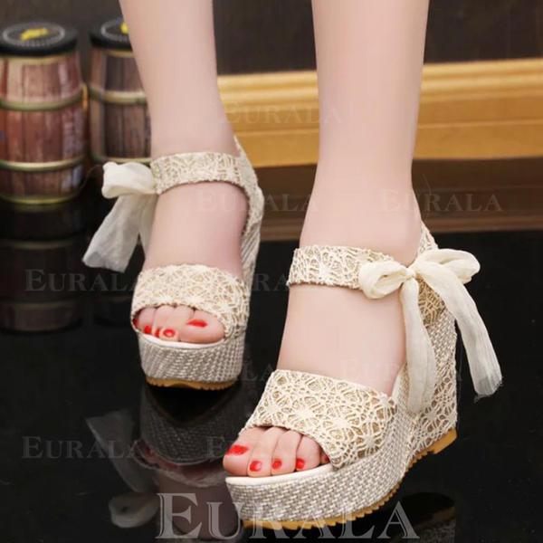 Mulheres Tecido Plataforma Sandálias Calços Peep toe Sapatos abertos com Bowknot Salto de joias sapatos