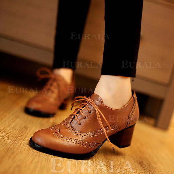 Mulheres Couro Salto robusto Fechados com Aplicação de renda Oca-out sapatos