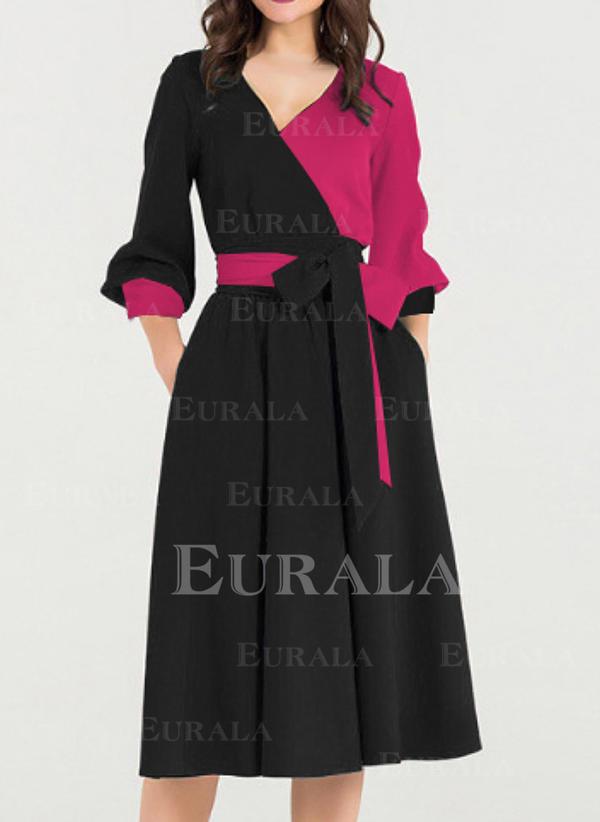 3d05c84889f Couleur De Bloc Manches Longues Trapèze Longueur Genou Vintage Élégante  Robes