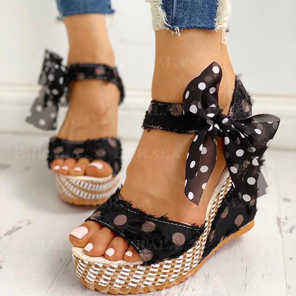 Női PU Ékelt sarkú Szandál -Val Csokornyakkendő cipő