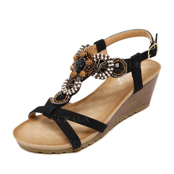 Сандалі Танкетка взуття на короткій шпильці Босоніжки з Сіяючі камені взуття