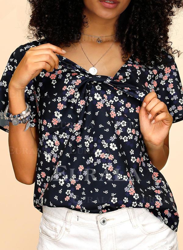 Print Bloemen V-hals Korte Mouwen Casual T-shirts