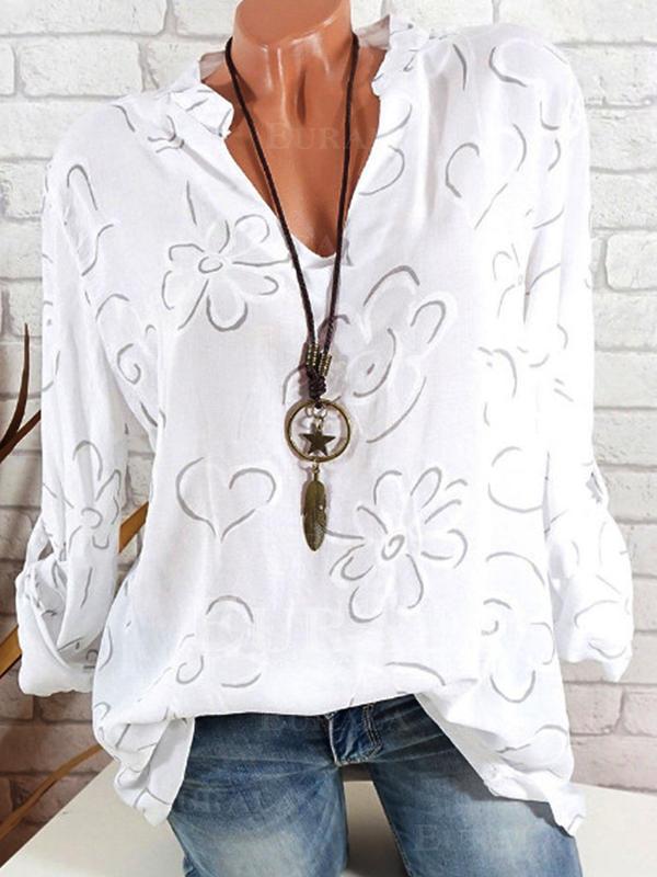 Φλοράλ V-λαιμός Μακρυμάνικο Καθημερινό Елегантне Μπλούζες Πουκάμισα