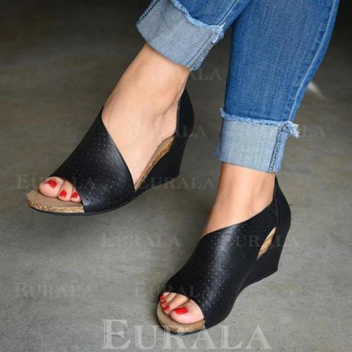 Női PU Ékelt sarkú Szandál Ékelt szandál Peep Toe -Val Cipzár Hálós ruha cipő