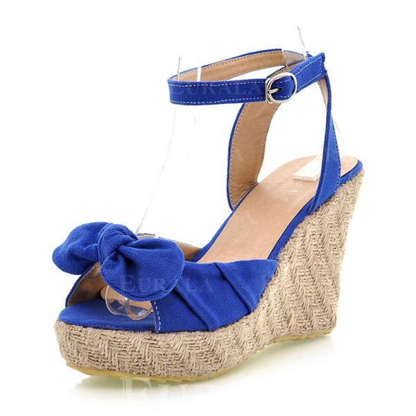 6149efbe De mujer Ante Tipo de tacón Salón Cuñas con Hebilla zapatos ...