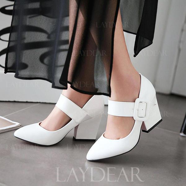 Frauen Lackleder Stämmiger Absatz Absatzschuhe mit Schnalle Schuhe