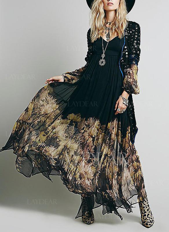 Nadrukowana Długie rękawy W kształcie litery A Maxi Casual Sukienki