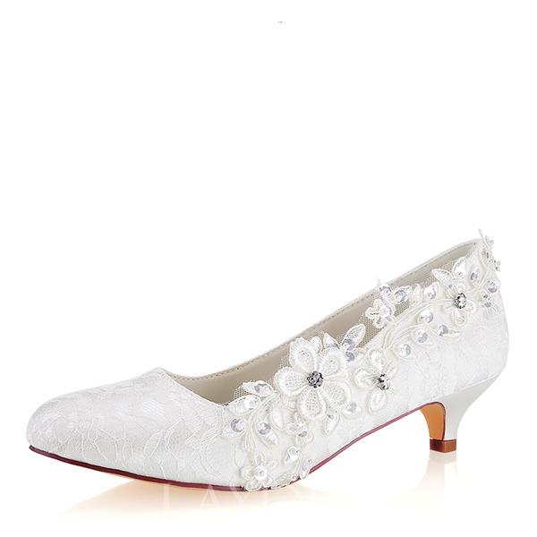 9e98083cce9 Γυναίκες Δαντέλα Μετάξι σαν σατέν Μεσαία παπούτσια τακουνιών Κλειστά  παπούτσια Με Δέσιμο δαντέλα Κρύσταλλο Μαργαριτάρι