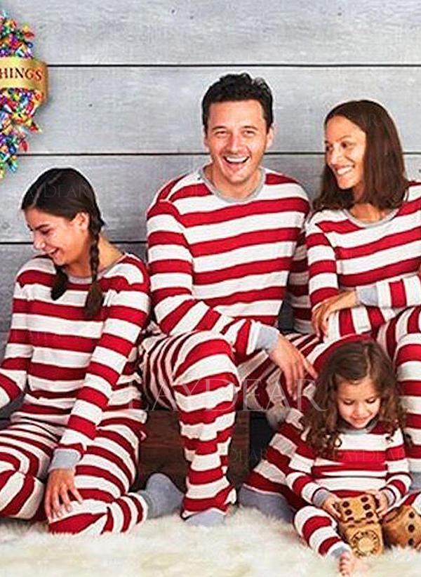 Matching Christmas Pajamas.Us 15 99 Striped Print Family Matching Christmas Pajamas Laydear