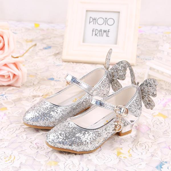 0d7733ab511 Κλειστά παπούτσια Γοβάκια Κορίτσι λουλουδιών Με Bowknot Αφρώδης λάμψη Velcro