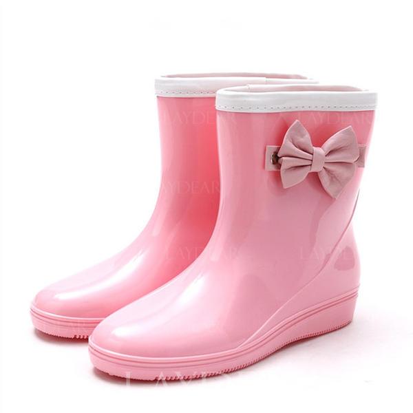 Frauen PVC Keil Absatz Keile Stiefel Regenstiefel mit Bowknot Schuhe