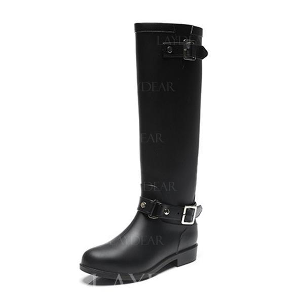 071c13a58 De mujer PVC Tacón bajo Botas de lluvia con Cremallera zapatos ...