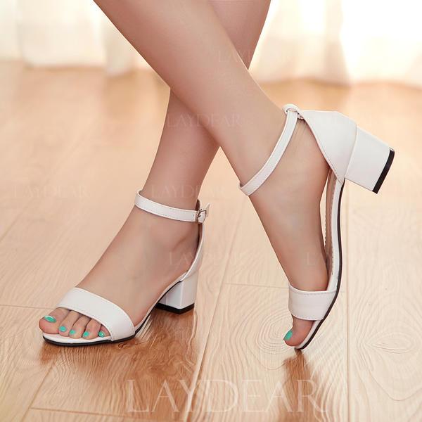 Frauen Kunstleder Stämmiger Absatz Peep-Toe Sandalen mit Schnalle