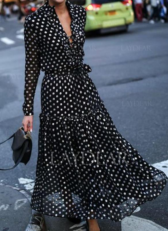 PolkaDot Long Sleeves A-line Maxi Casual/Elegant/Vacation Dresses