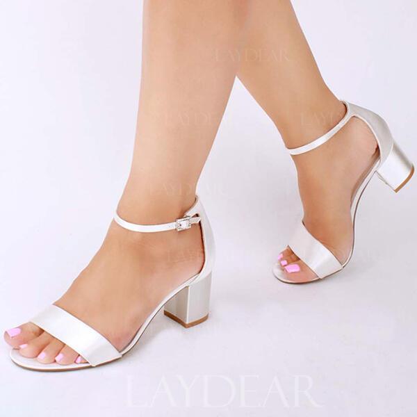Frauen Satin Stämmiger Absatz Peep-Toe Sandalen mit Schnalle