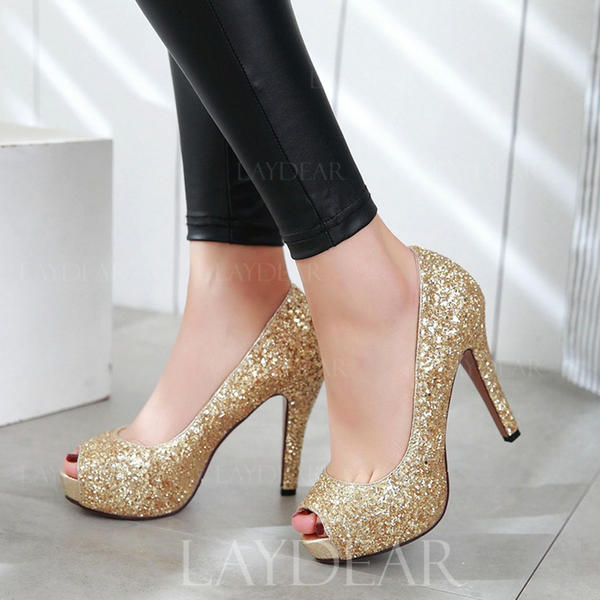 Frauen Funkelnde Glitzer Stöckel Absatz Absatzschuhe Peep Toe mit Funkelnde Glitzer Schuhe