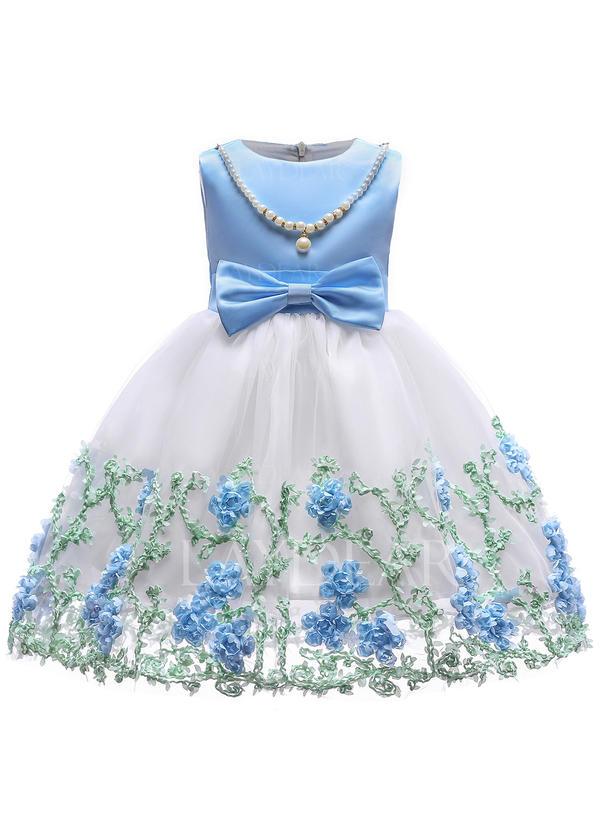 c66abcf911 Dziewczyny Okrągły Dekolt Kwiatowy Koronka Cekin Kokarda Ładny Party Flower  Girl Sukienka