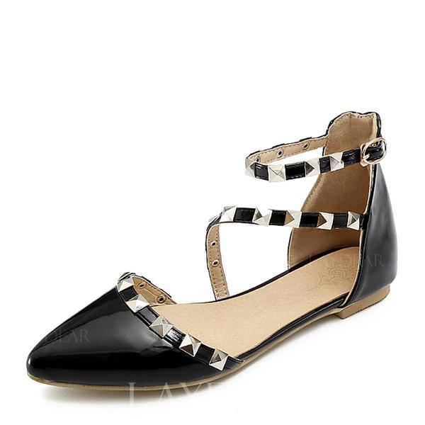 9dfd64e53f2 Dámské Lakovaná kůže Placatý podpatek Sandály Boty Bez Podpatku Uzavřená  Špička S Nýt Přezka obuv
