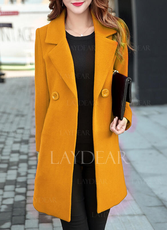 Baumwolle Lange Ärmel Einfarbig Slim-Fit-Mantel