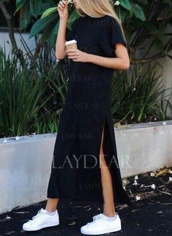 c5052590a88 Κοντά μανίκια Αμάνικο Μάξι φόρεμα Απλό φορέματα (199241516 ...