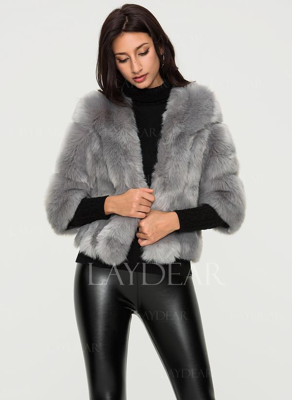 buy online 71a3e 1ee2e [US$ 59.99] Pelliccia ecologica Mezze maniche Colore solido Cappotto di  pelliccia sintetica - Laydear