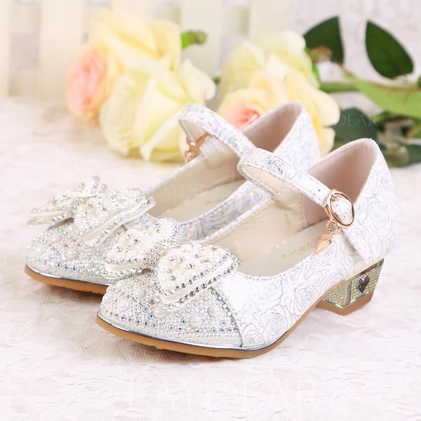 84834b59588 Κορίτσι Λείαντο Χαμηλή τακούνια Κλειστά παπούτσια Γοβάκια Κορίτσι λουλουδιών  Με Συσκευή αναδίπλωσης Πόρπη Αφρώδης λάμψη