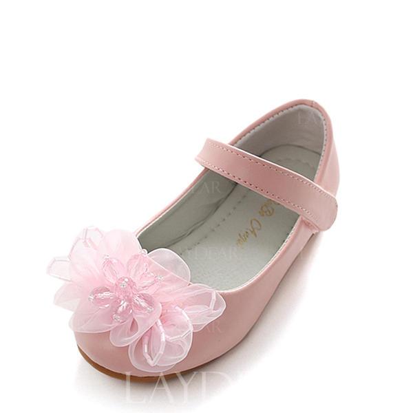 b37e3d68e1661 Dziewczyny Skóra ekologiczna Płaski Obcas Round Toe Zakryte Palce Mary Jane Plaskie  Buty Flower Girl Z
